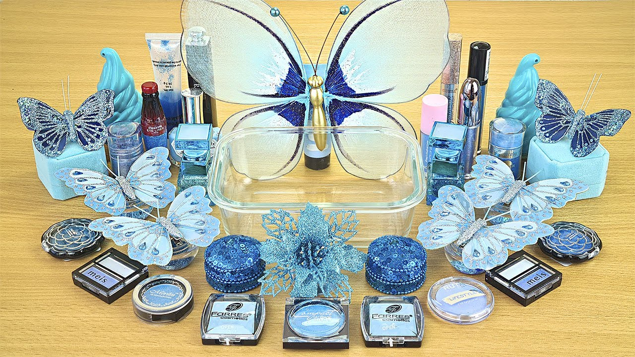 Blue BUTTERFLY SLIME Mixing makeup and glitter into Clear Slime Satisfying Slime Videos