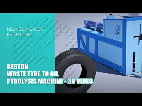 Beston Fully Continuous Waste Tyre to Oil Machine 3D Video