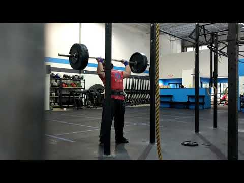 Strict overhead press personal records at 265 lbs x 1 and 200 lbs x 10