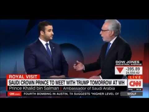 Saudi Ambassador Prince Khalid bin Salman in his first interview on US TV with Wolf Blitzed on CNN