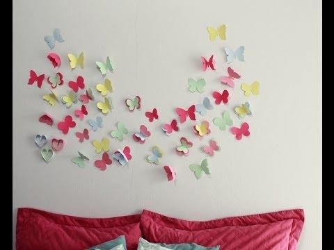 Decore seu quarto com borboletas na parede youtube for Como colocar papel mural