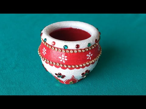 Easy Pot painting    Kalash  decoration    Diwali matki   School competition idea  