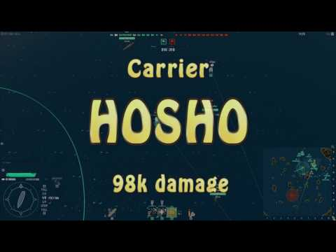 World of Warships - First CV Game! Hosho - 98k Damage and Liquidator