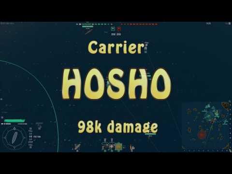 World of Warships - First CV Game! Hosho - 98k Damage and Liquidator