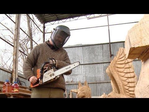 Кубанская резьба бензопилой: мастер из станицы Динской создает деревянные скульптуры