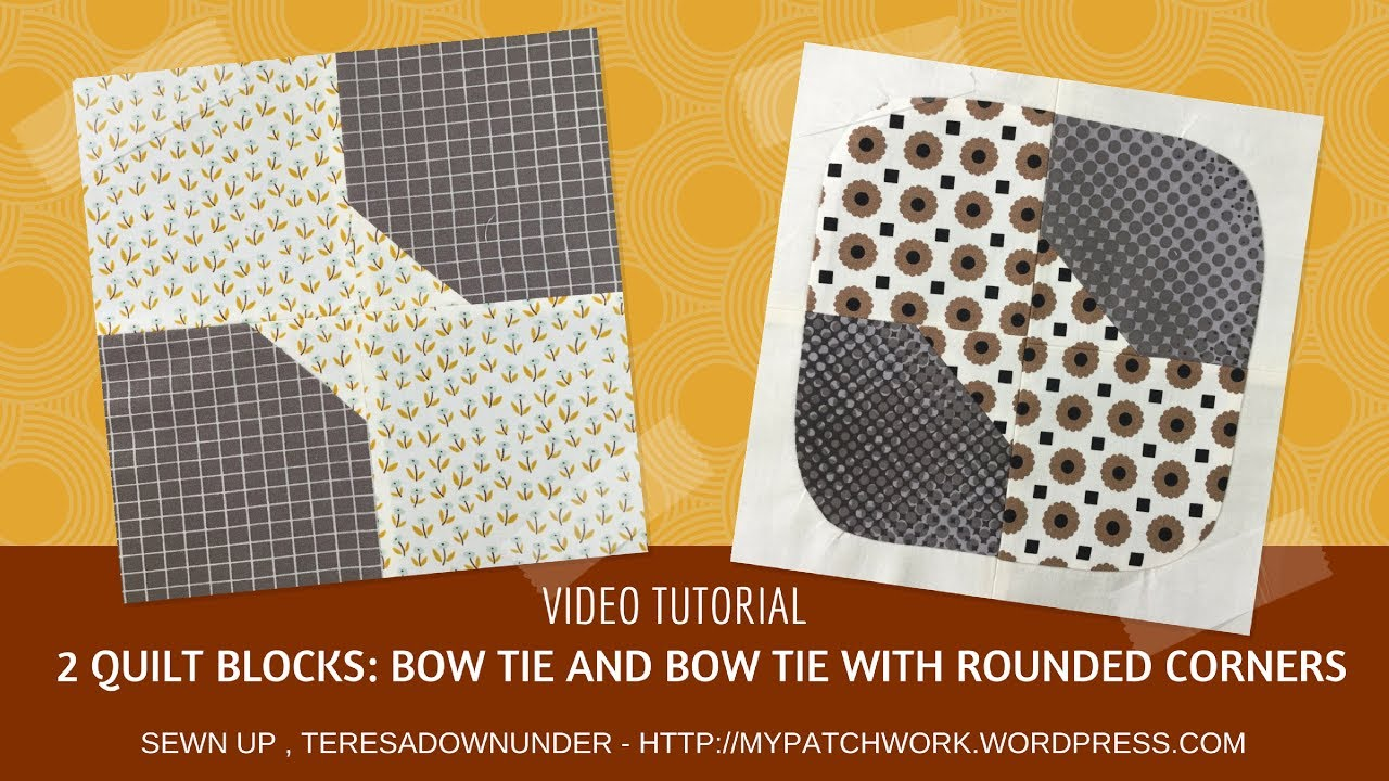 Video tutorial: 2 Bow tie quilt blocks - quick and easy quilting ... : easy bow tie quilt block pattern - Adamdwight.com