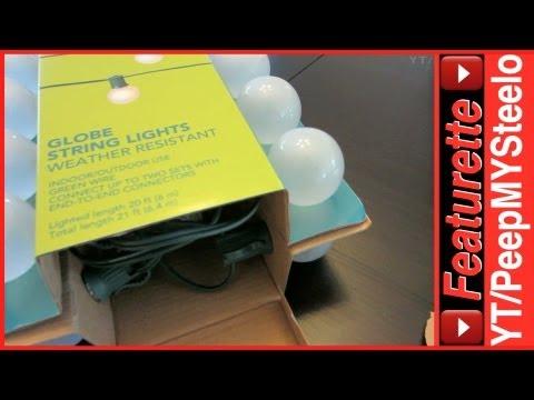 Outdoor Globe String Lights w/ White Pendant Bulbs as Patio Lighting Fixtures or Christmas Decor