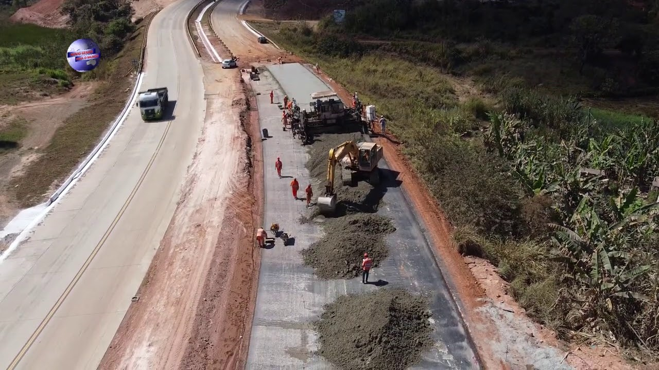 BR 381 FINALIZANDO A PISTA COM PAVIMENTO RIGIDO, OBRAS DUPLICAÇÃO EM MINAS GERAIS BRASIL