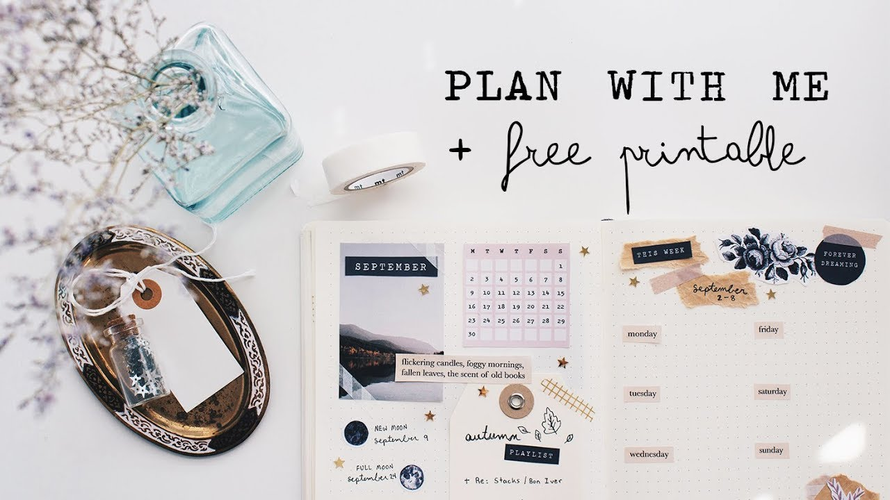 Plan With Me Free Printable September Bullet Journal