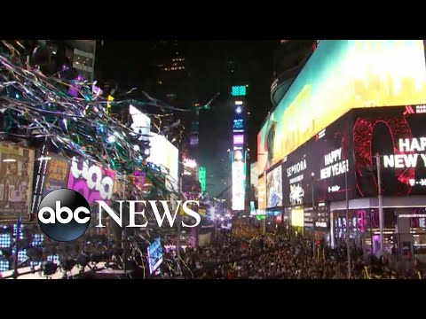 A million people gather in Times Square to celebrate the New Year