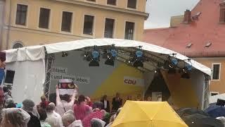 Bundeskanzlerin Angela Merkel in Torgau wurde gnadenlos ausgebuht und ausgepfiffen 06.September 2017