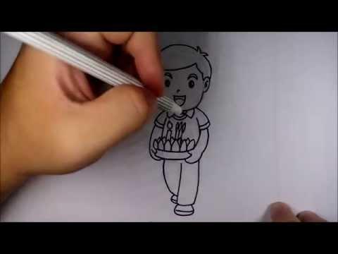 วาดการ์ตูน กันเถอะ สอนวาด การ์ตูน ผู้ชาย ถือกระทง ลอยกระทง