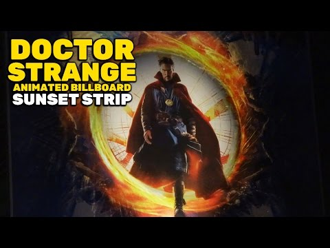 """Doctor Strange"" animated portal billboard on Sunset Boulevard in West Hollywood, California"