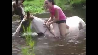 Funny Girls Win Fail into water Try not to Laugh
