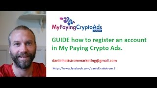 my paying crypto ads guide how to register an account with Daniel Hattstrom