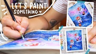 Paint With Me | Painting Clouds and Little Red Panda Astronauts! • Cissy's Art Café