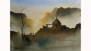 simple watercolor landscape painting of temple by sikander singh chandigarh INDIA