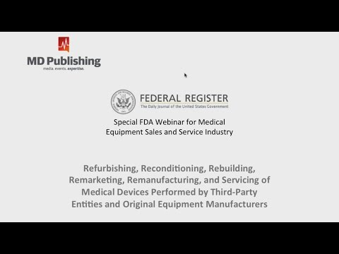 Special FDA Webinar For Medical Equipment Sales And Service Industry