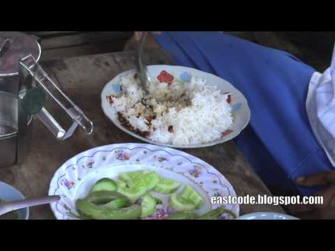 eating rice with hand  Myanmar traditional way