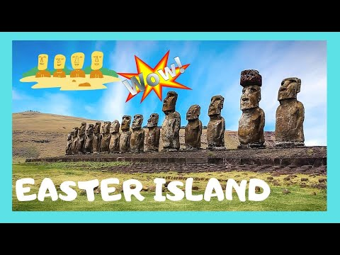 EASTER ISLAND, the platform (AHU) architecture of the statues (MOAI), Pacific Ocean