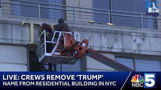 Trump's Name Pried From The Side Of Manhattan Condo Tower