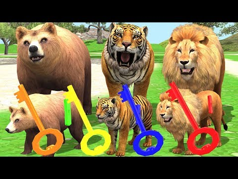 Little Baby Goes Wild Animals Zoo Park For Matching Keying Cartoon Toys | Learn Animal Name & Sounds |