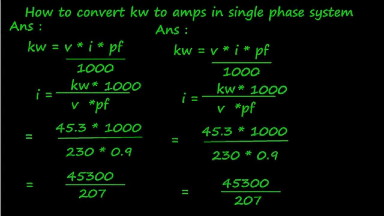 How to convert kw to amps in single phase system youtube for 3 phase motor hp to amps