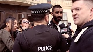 Tommy Robinson confronts another accused Muslim rape gang