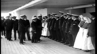 King George V visits the British hospital ship HMHS Plassy during World War I HD Stock Footage
