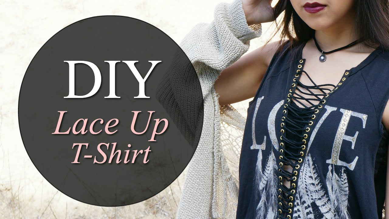 Diy lace up t shirt coolirpa youtube for How do they make t shirts