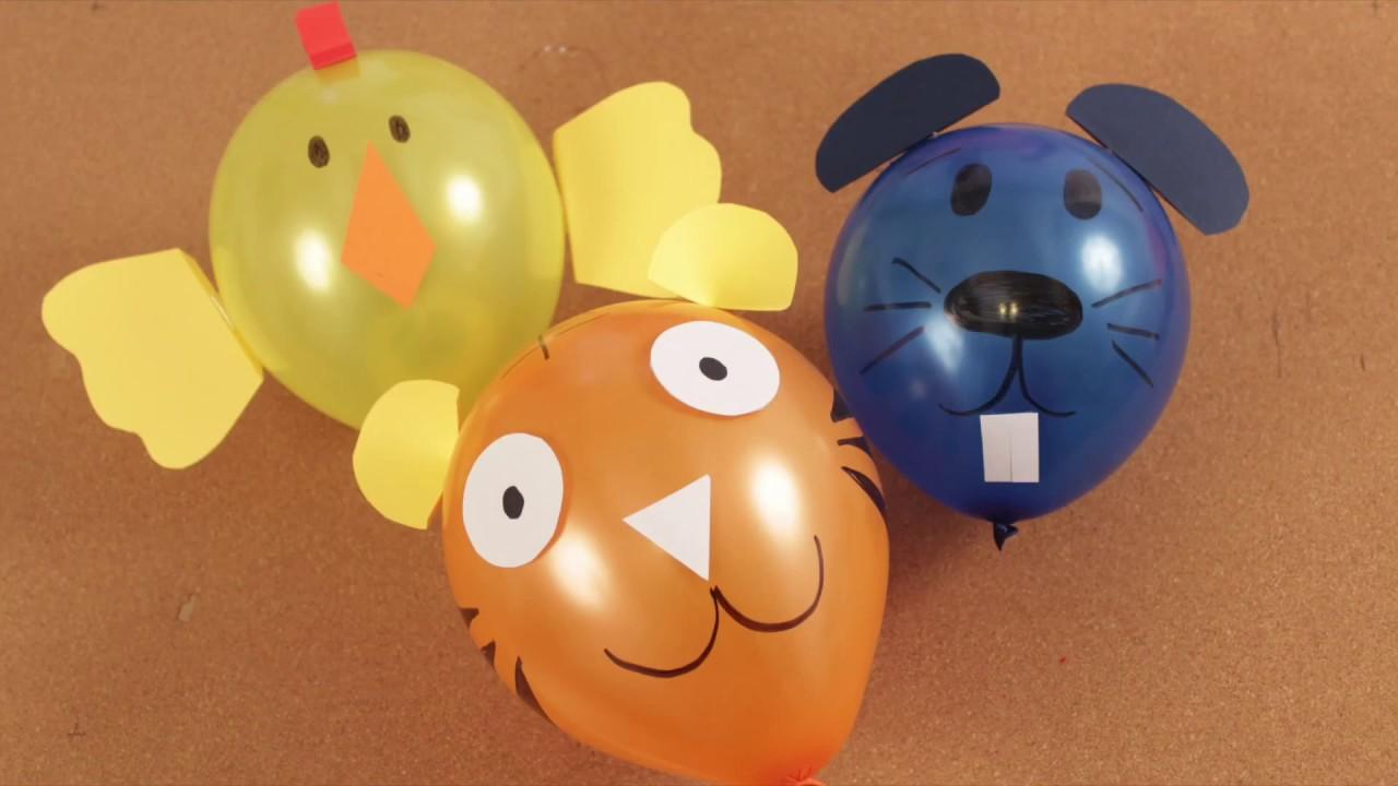 Globos decorados como animalitos - pollito, tigre, ratón - DIY