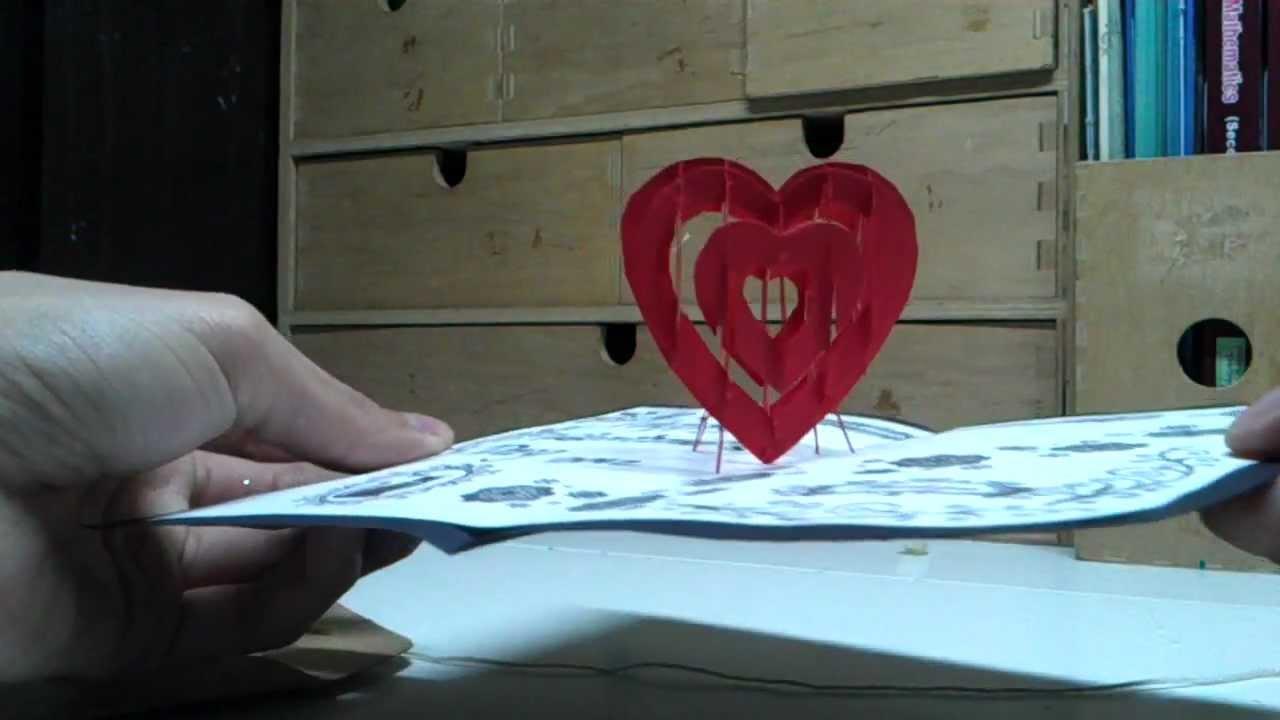 Valentineu0026#39;s Day Pop Up Card:3D Heart - YouTube