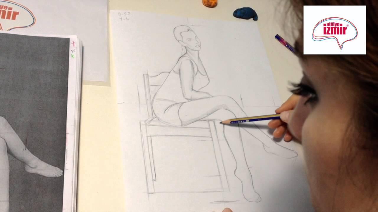 Moda Tasarım Karakalem Oturan Kadın Figürü Youtube