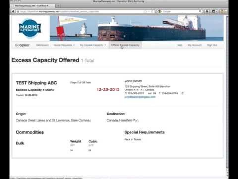 How to Post Capacity using the Marine Gateway Shipping Portal