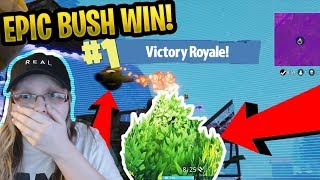 Girl Gets The Most EPIC BUSH WIN In Fortnite Battle Royale! Epic Bush Trolling!