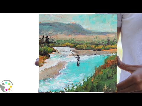 How To Paint A River With Fisherman | Easy Acrylic Painting Tutorial
