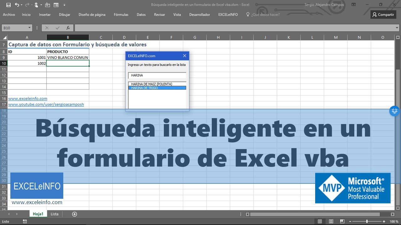 Búsqueda inteligente en un formulario de Excel vba - YouTube