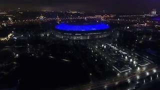 Воробьевы горы и стадион Лужники, съемка с дрона