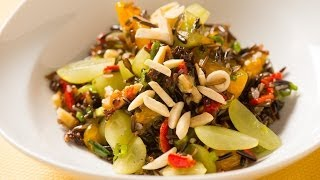 Green Grape and Wild Rice Salad with Sherry Vinaigrette, Toasted Walnuts, and Roasted Red Peppers