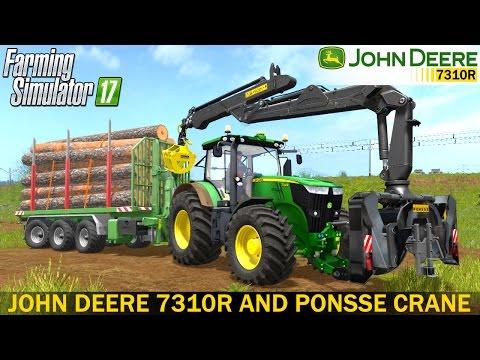 Farming Simulator 17 JOHN DEERE 7310R AND PONSSE CRANE