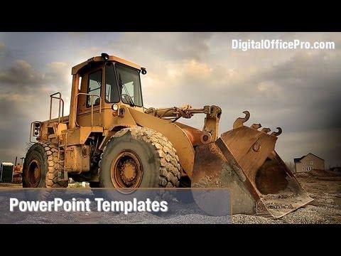 Construction Equipment PowerPoint Template Backgrounds - DigitalOfficePro #02636W