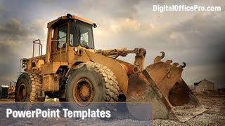 Construction Equipment PowerPoint Template Backgrounds - DigitalOfficePro #02636W
