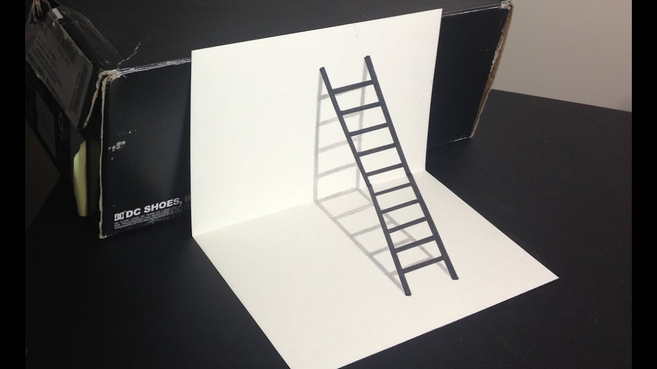 3D Ladder Optical Illusion Drawing - YouTube