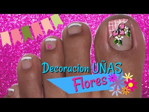Decoraci n de u as pies flores f cil nail decoration - Decoracion de unas colombianas ...