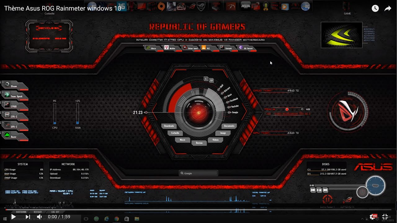 TUTO comment créer un thème Asus ROG rainmeter Windows - YouTube