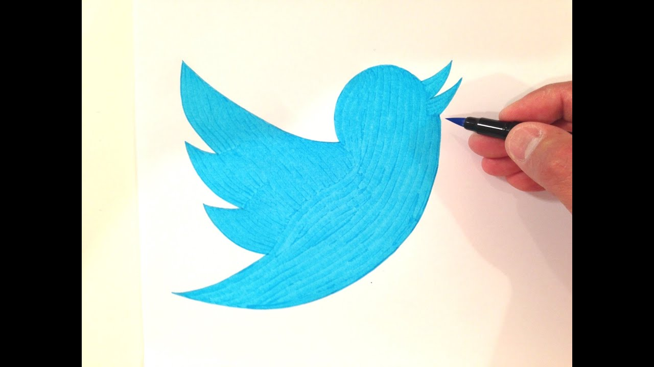 How to draw the twitter logo freehand youtube for Simple paintings to draw