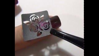 Розы на ногтях с трафаретами Vinylist и магнитным лаком Masura / Roses with nail stencils Vinylist(Магнитный лак Masura