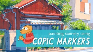 Painting scenery with Copics