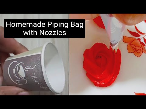 homemade-piping-bag-and-nozzle-from-paper-cup-|-homemade-piping-bag-for-cake-decoration