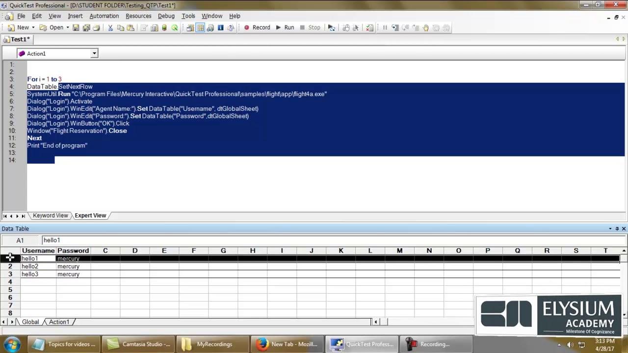 SetNextRow method – Datatables in QTP